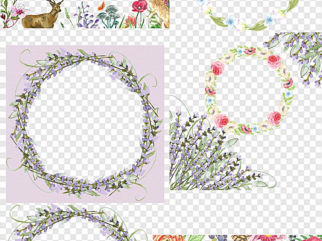 花环素材蓝色水彩花手绘花紫色水彩花