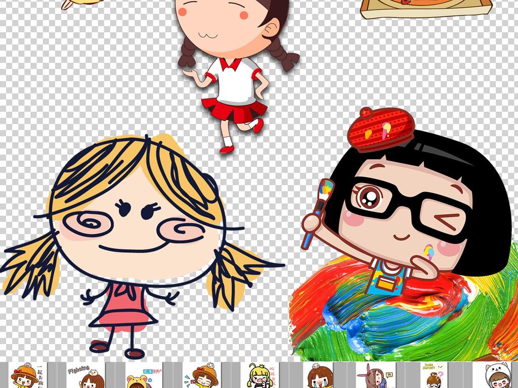 可爱卡通搞怪小女孩png透明背景素材