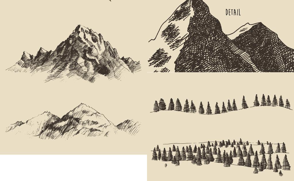 黑白画山峦山路手绘挂画背景墙壁画广告设计名片环境