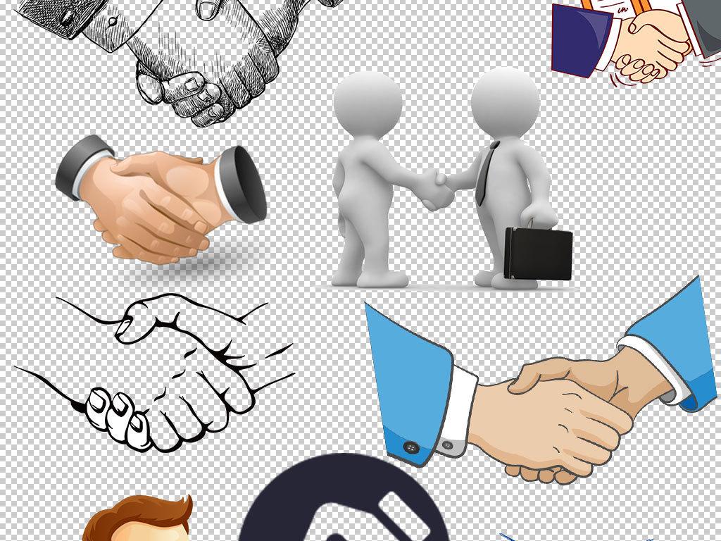 团结合作合作愉快握手矢量图握手标志设计素材psd