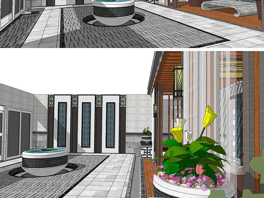 新中式庭院设计景观su模型图片