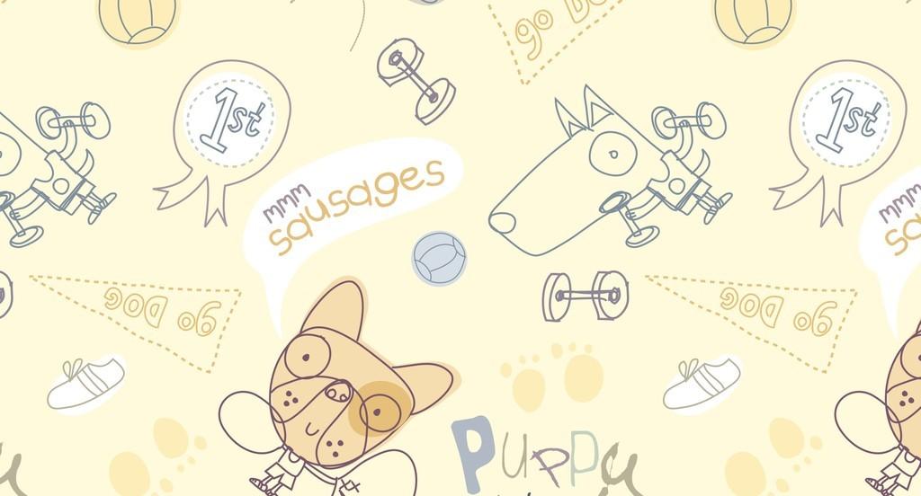 四方连续图案面料定位印花卡通动物