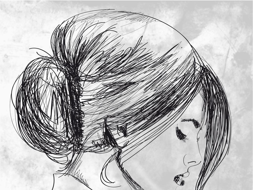 手绘美女头像艺术效果矢量人物素描人物头像