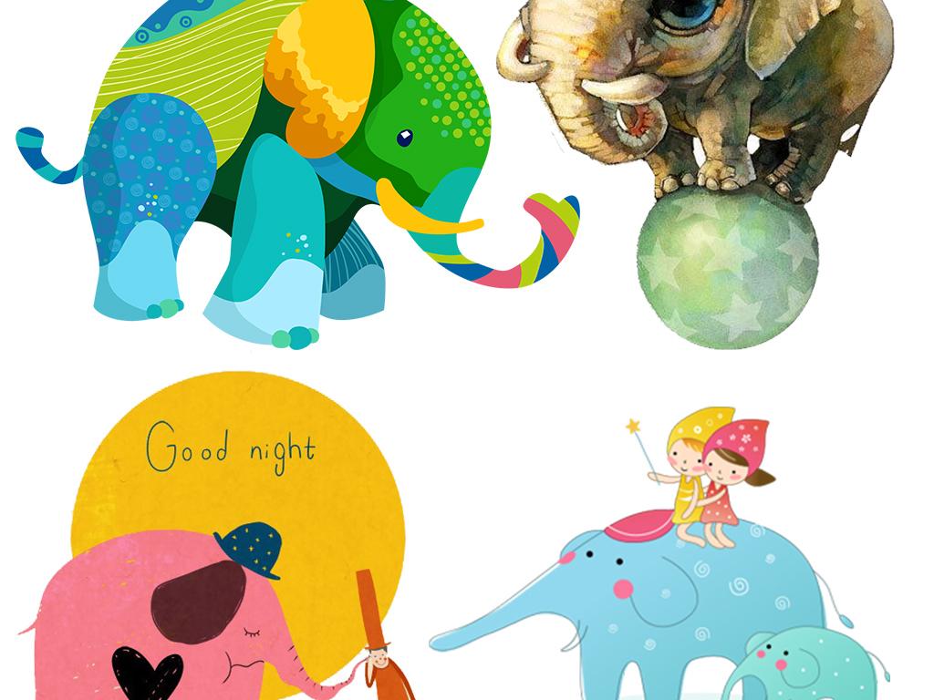 手绘大象背景海报设计元素大象鼻子大象设计元素大象