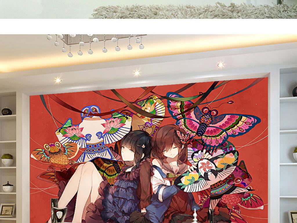 放风筝的季节现代手绘可爱美女背景墙壁画图片