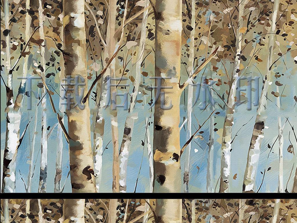 桦树油画中式背景墙