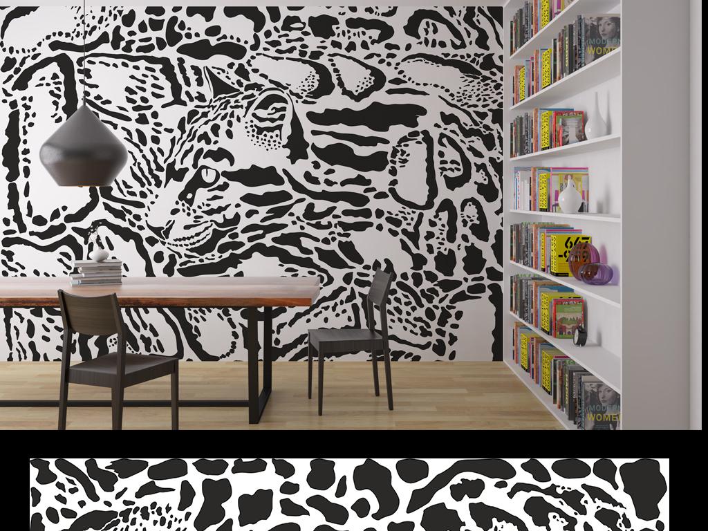 长颈鹿复古花纹动物巨幅抽象装饰画背景墙