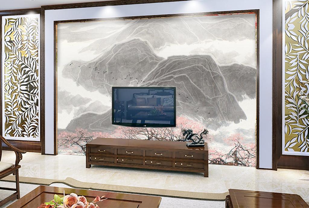 新中式梅花写意山水背景墙装饰画