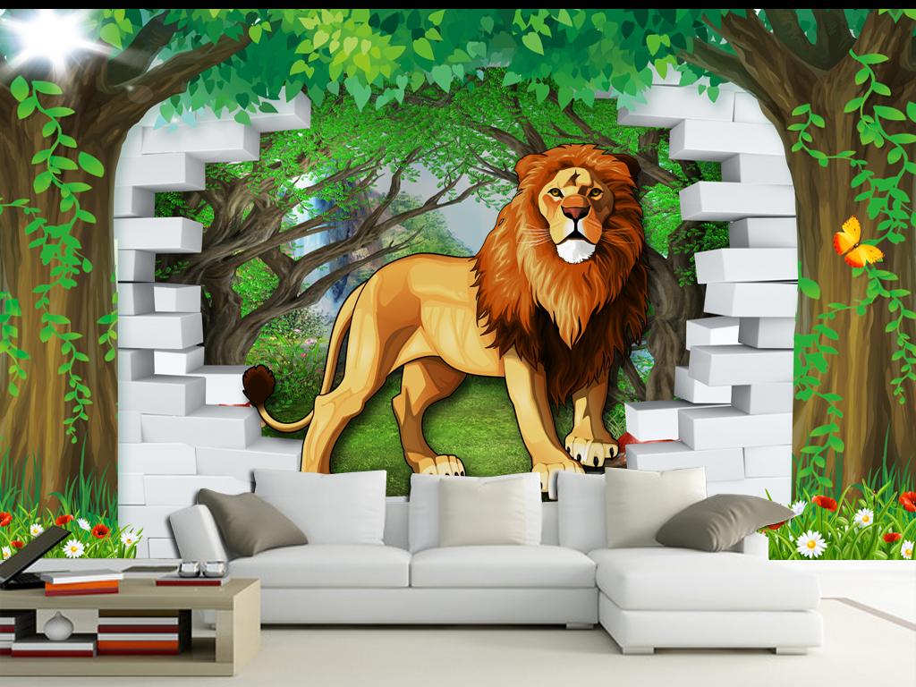 动物总动员3d儿童房背景墙壁画