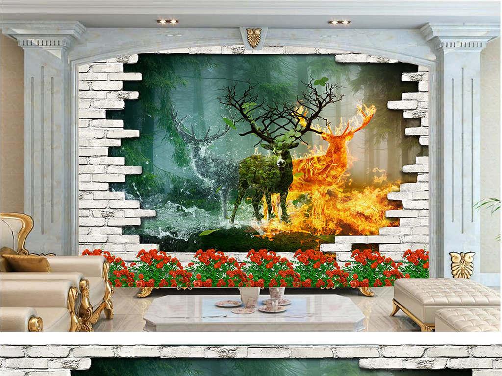 梦幻森林麋鹿背景墙(图片编号:16363625)_欧式电视墙