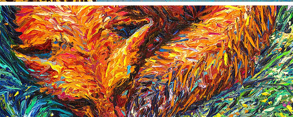 现代时尚手绘抽象油画豹子狐狸无框画装饰画