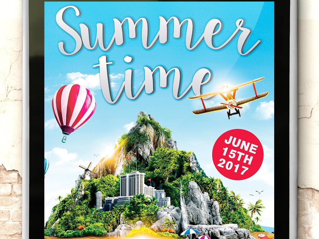 清新夏季时光海岛旅游水上乐园旅游创意海报