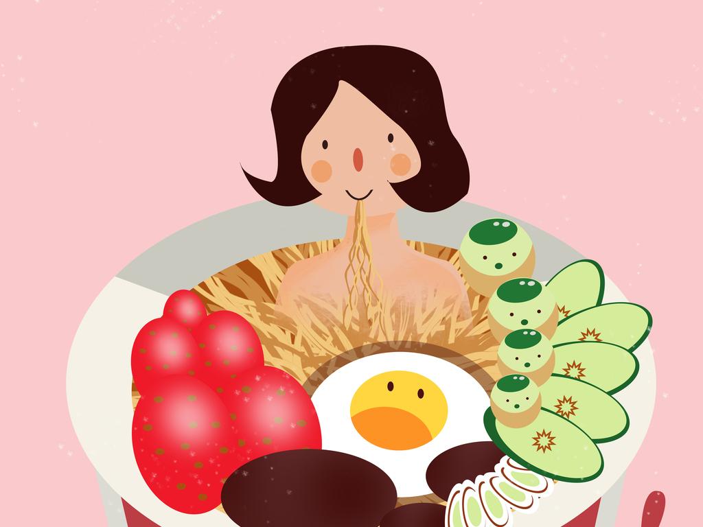 泡面创意海报素材卡通美食海报