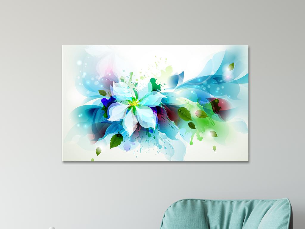 手绘油画花卉艺术简约颜料色彩挂画
