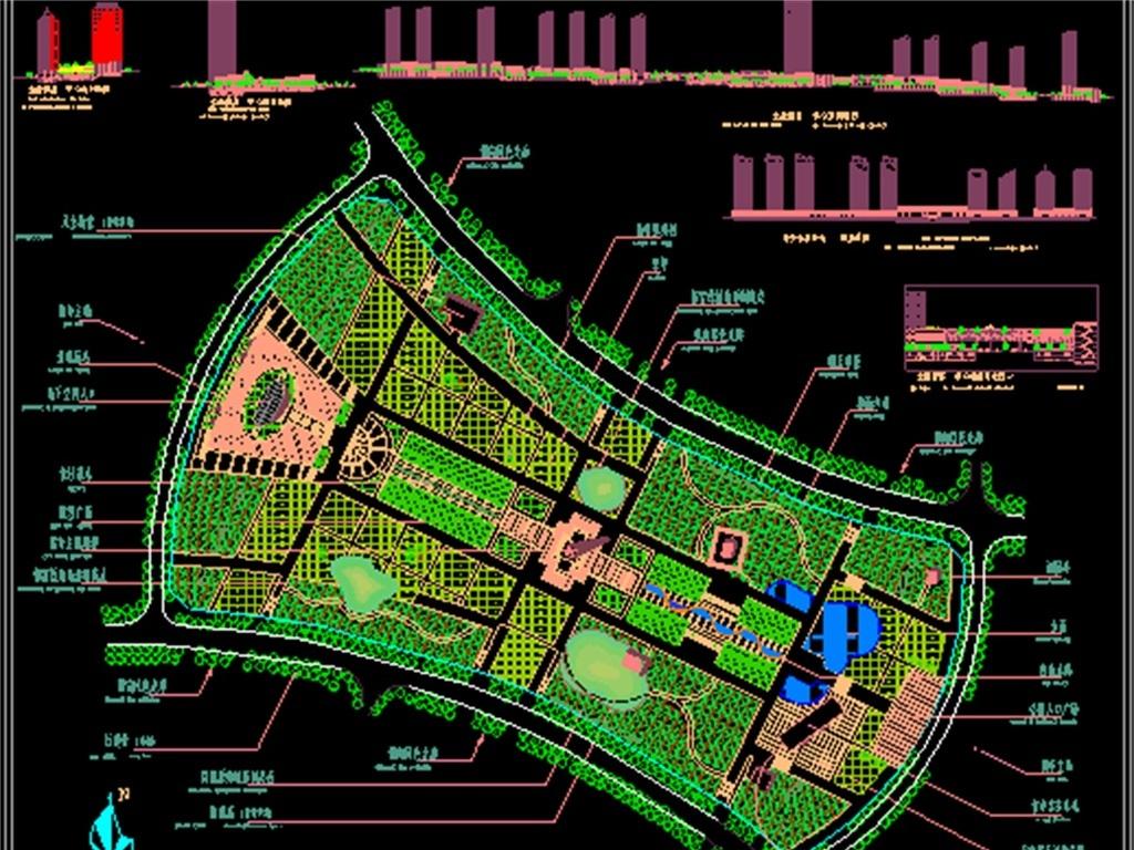 dwg)某市建筑设计图建筑工程cad图纸商业建筑政府大楼办公楼中央花园