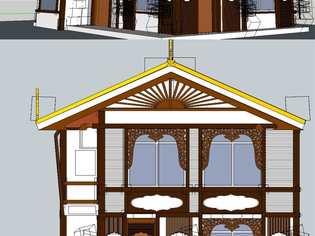 作品模板源文件可以编辑替换,设计作品简介: 藏式新农村建筑su模型图片