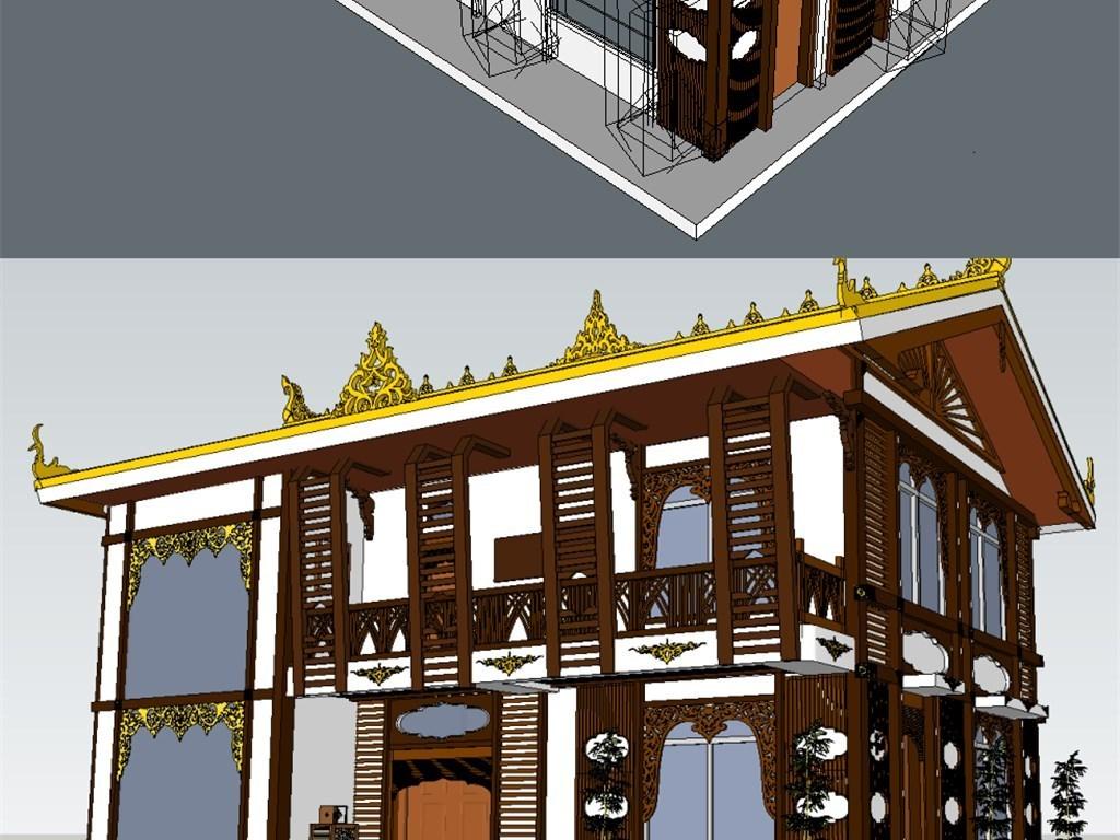 藏式新农村建筑su模型图片