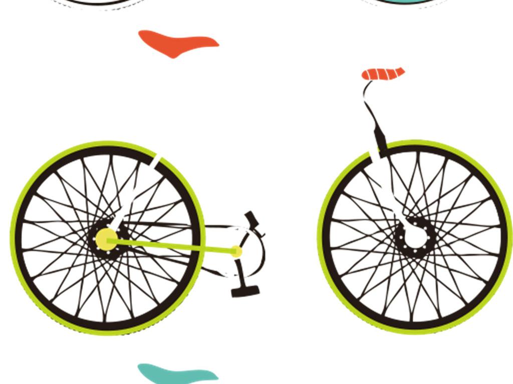 自行车印花海报设计ps素材背景透明