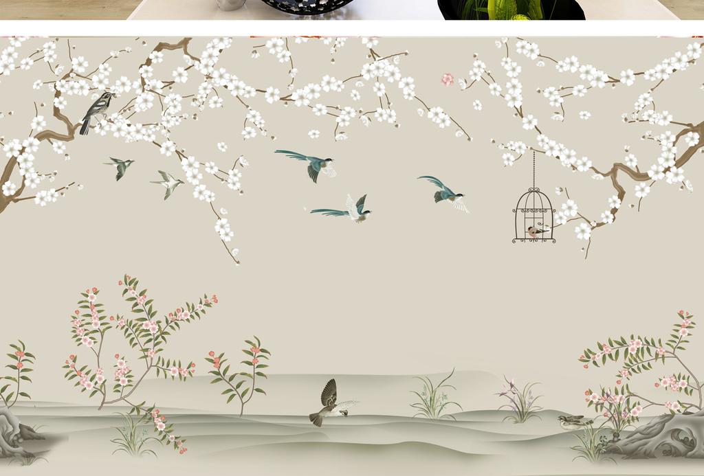 蝴蝶梅花杏花工笔画手绘树枝山水
