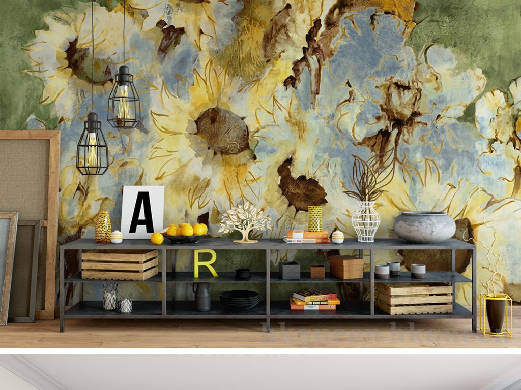欧式复古怀旧手绘菊花抽象油画壁画背景墙