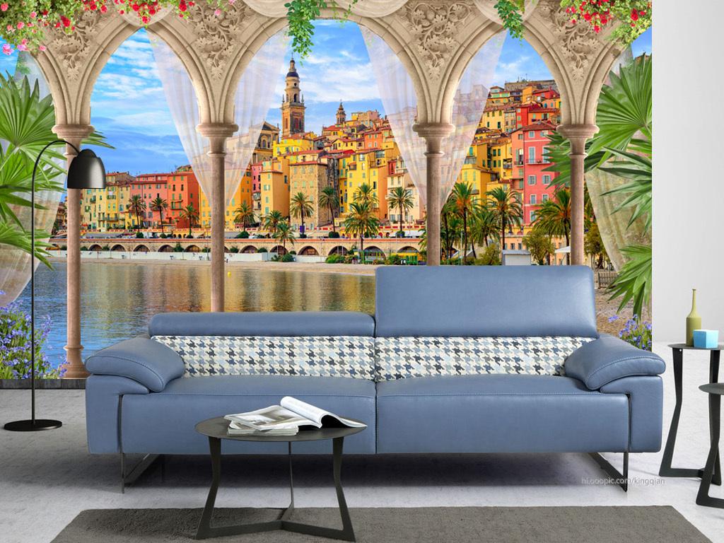 宫殿罗马柱地中海小镇风景3d背景墙