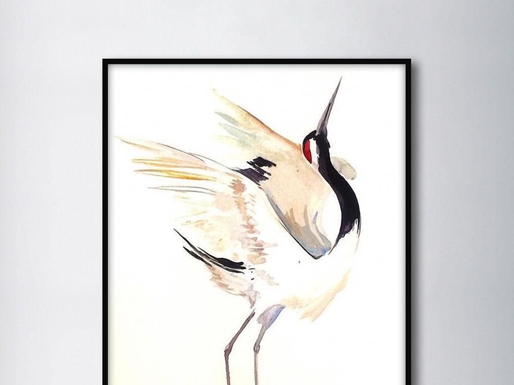 一只丹顶鹤新中式简约写意唯美意境装饰画