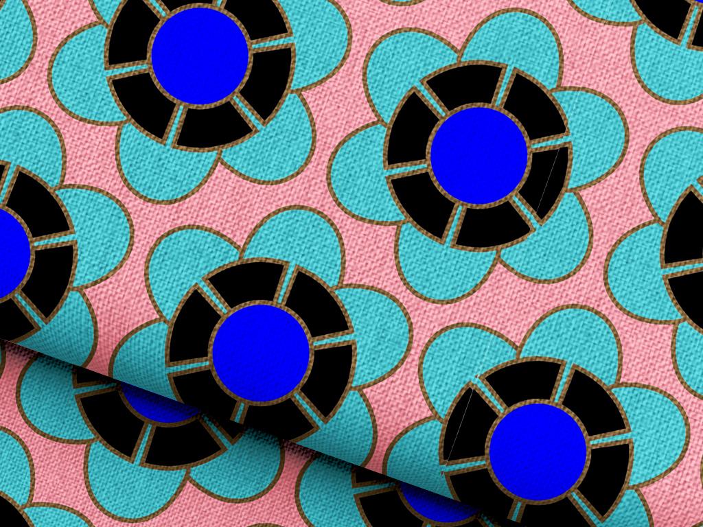 抽象几何植物花卉抱枕图案