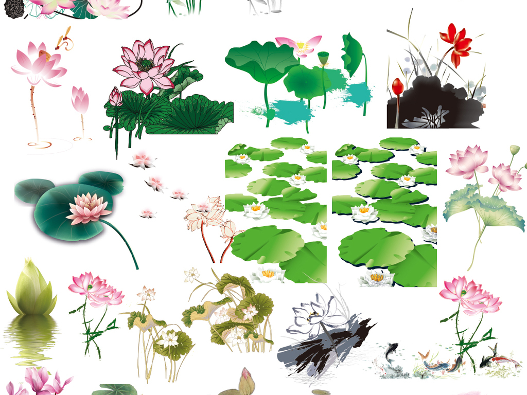 中国风手绘竹子梅花牡丹桃花草荷花矢量素材