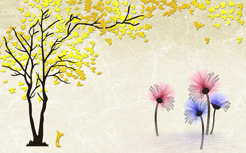 黄金树情侣树发财树手绘菊花电视背景墙