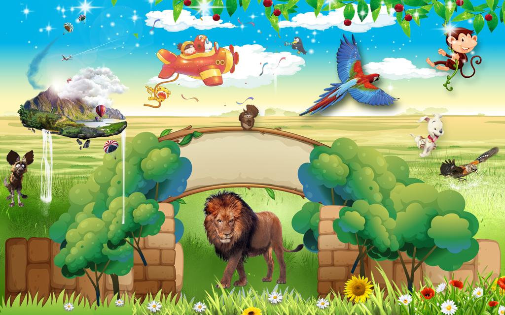 3d动物世界儿童乐园卡通背景墙壁画