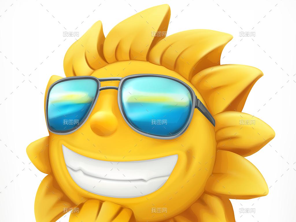 矢量卡通可爱夏日阳光沙滩旅游度假设计元素