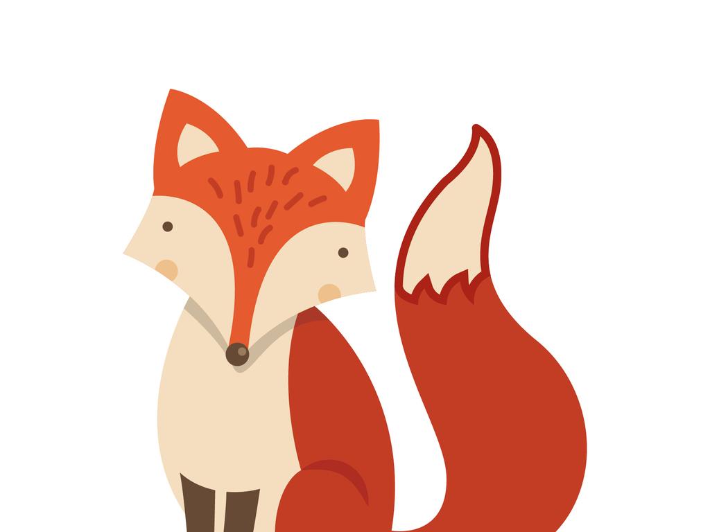 手绘狐狸矢量抱枕印花图案