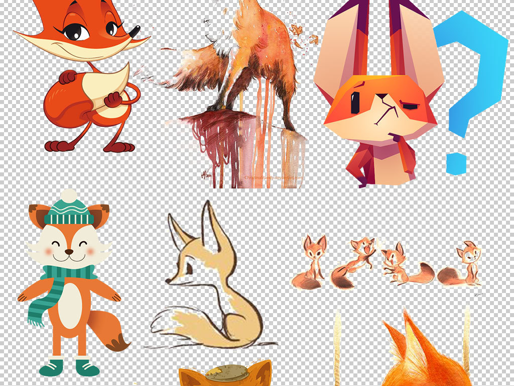 卡通可爱狐狸动物设计免扣海报素材