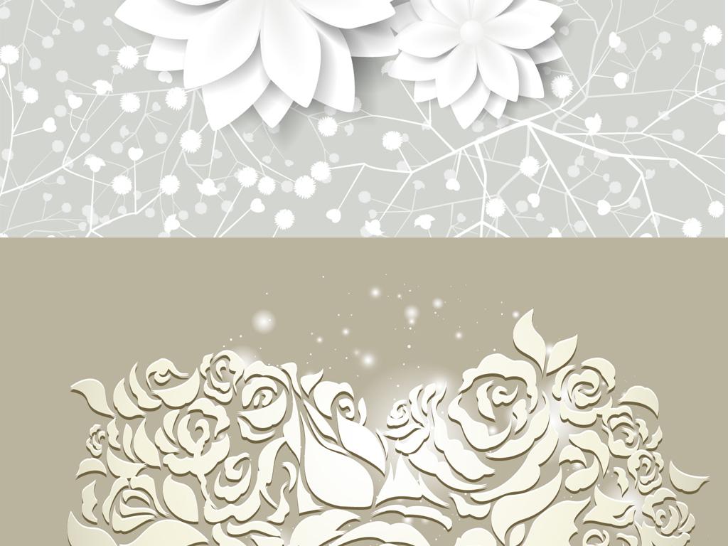 设计作品简介: 高雅文艺小清新立体花朵背景 矢量图, rgb格式高清大图
