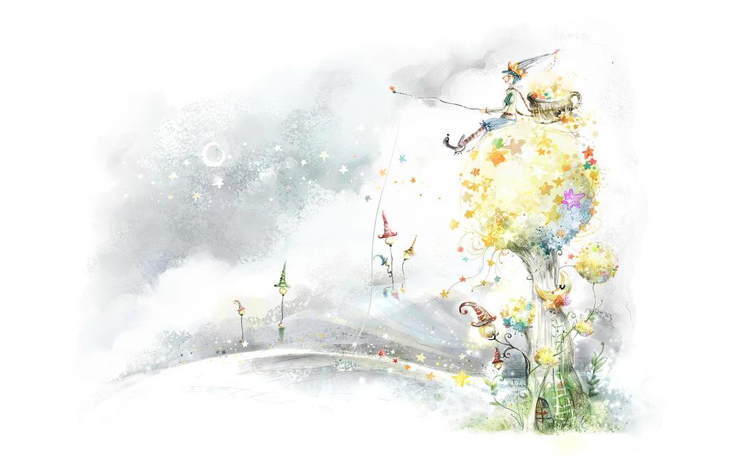 设计元素 其他 其他 > 清新插画墙绘背景艺术装饰画作手绘