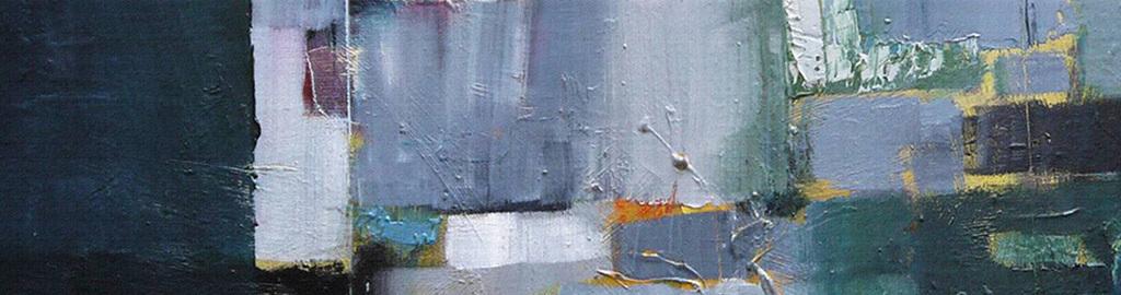手绘绿色色块涂鸦抽象装饰画