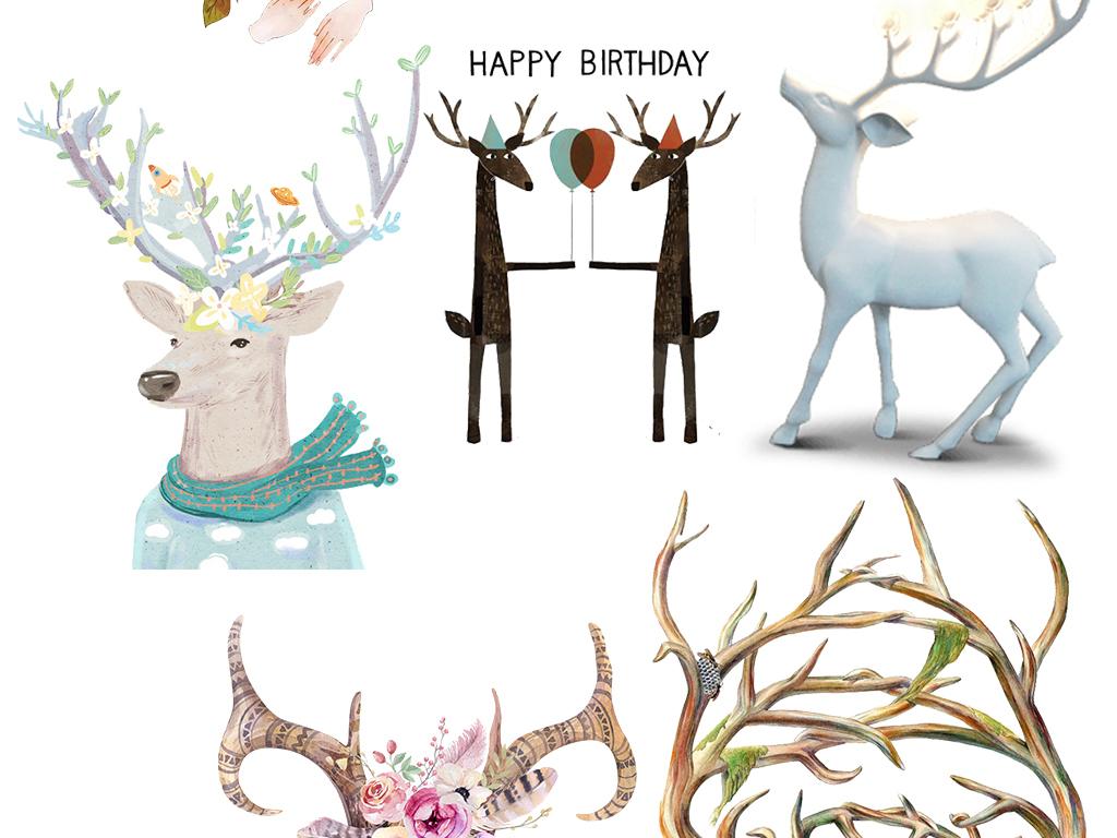 手绘卡通小鹿驯鹿鹿图片卡通鹿圣诞鹿鹿头卡通小鹿卡