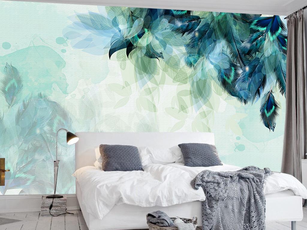 手绘北欧简约羽毛背景墙