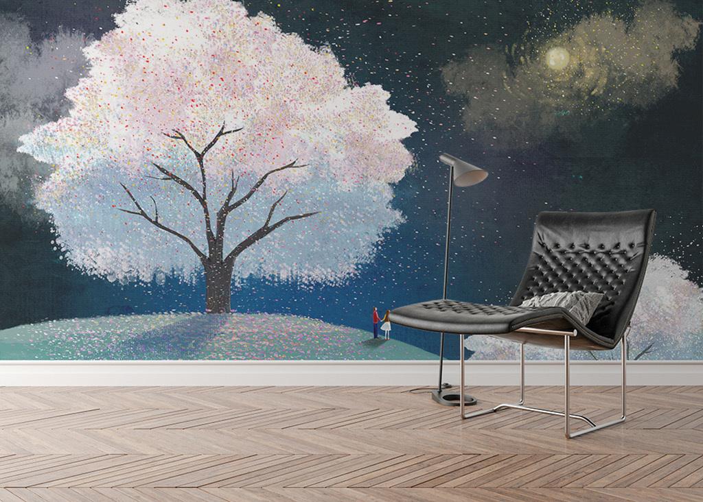 背景墙|装饰画 电视背景墙 手绘电视背景墙 > 手绘樱花树月亮下许愿