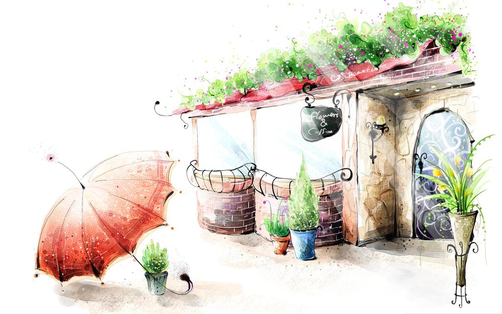 手绘简约风景梦境颜料画温和挂画