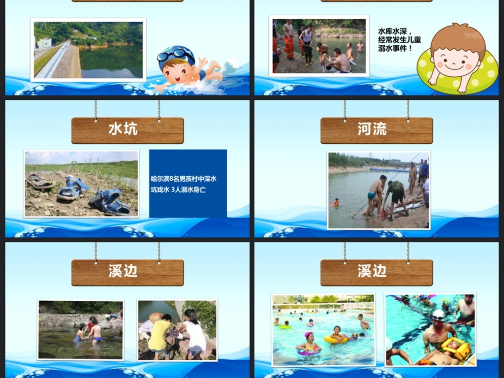 儿童防溺水安全教育课件动态ppt模板