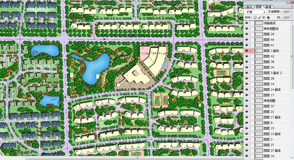 植物布置图园林景观规划彩色平面图住宅景观规划效果图规划总平面图彩