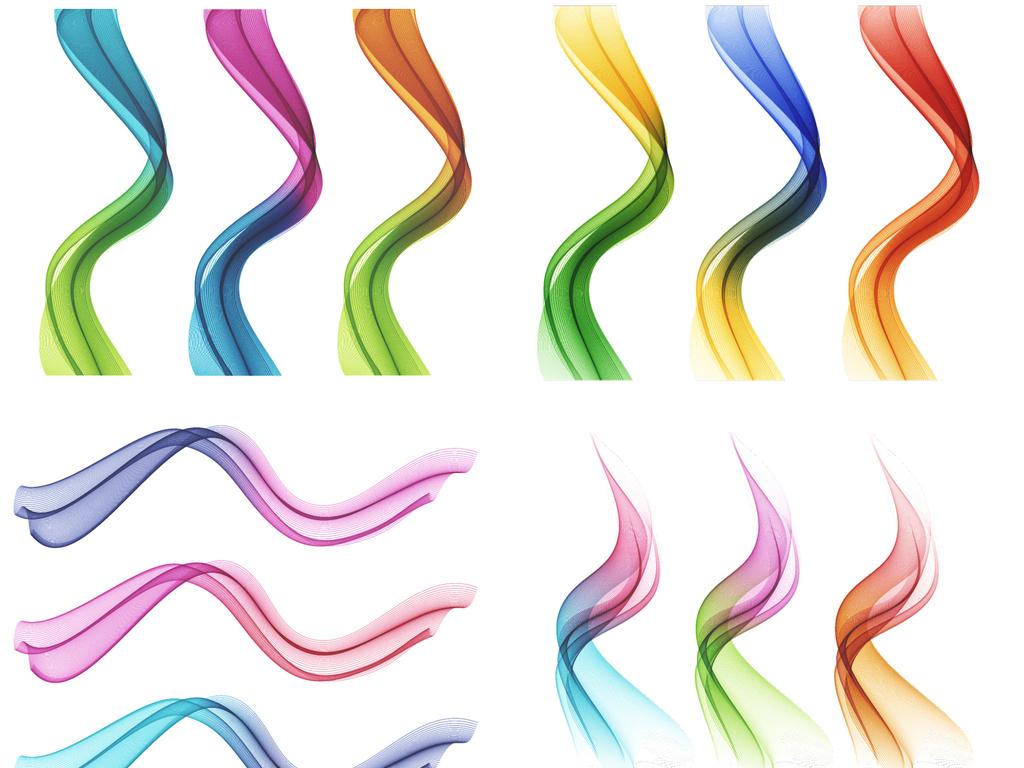 设计作品简介: 常用炫丽立体彩色线条背景素材 矢量图, rgb格式高清