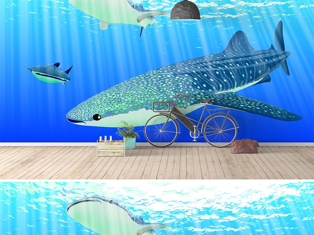 3d现代手绘鲸鱼鲨鱼客厅电视背景墙