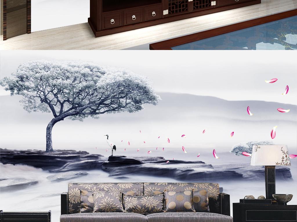 新中式群山仙鹤花瓣背景墙