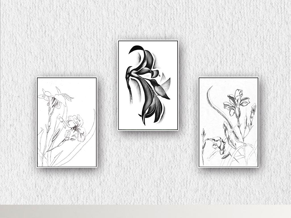 北欧简约手绘花鸟黑白无框画装饰画