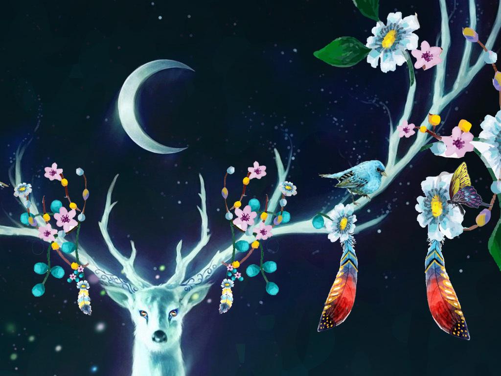 梦幻森林森林麋鹿梦幻背景萤火虫星空