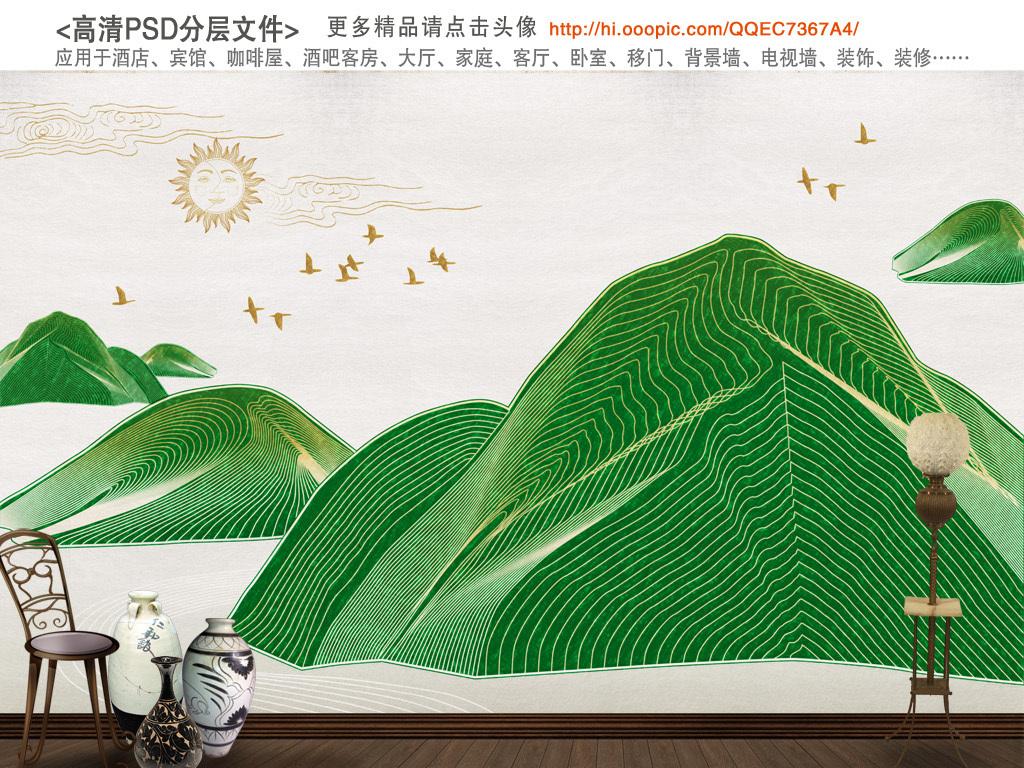 新中式手绘线条日出江山如此多娇背景墙装饰画