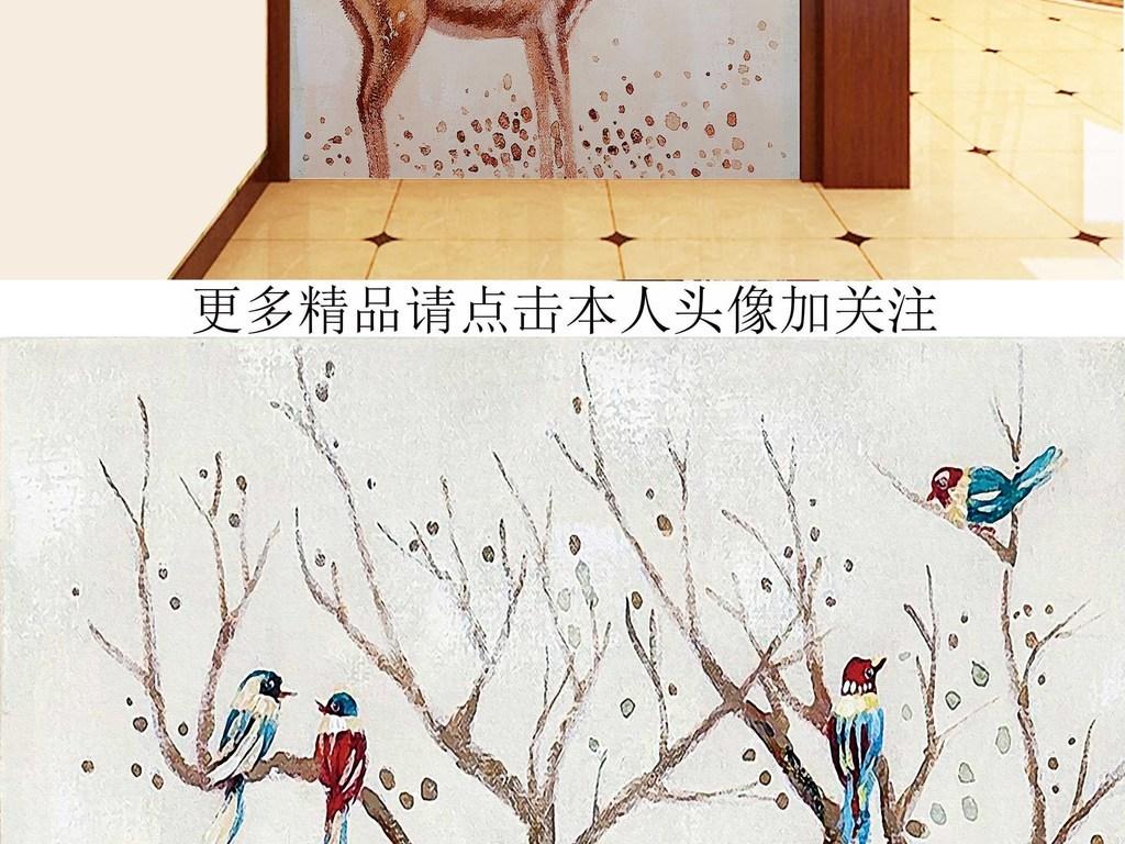 画简约栖息树枝抽象小鹿驯鹿鹿图片卡通鹿圣诞鹿鹿头卡通小鹿卡通驯鹿