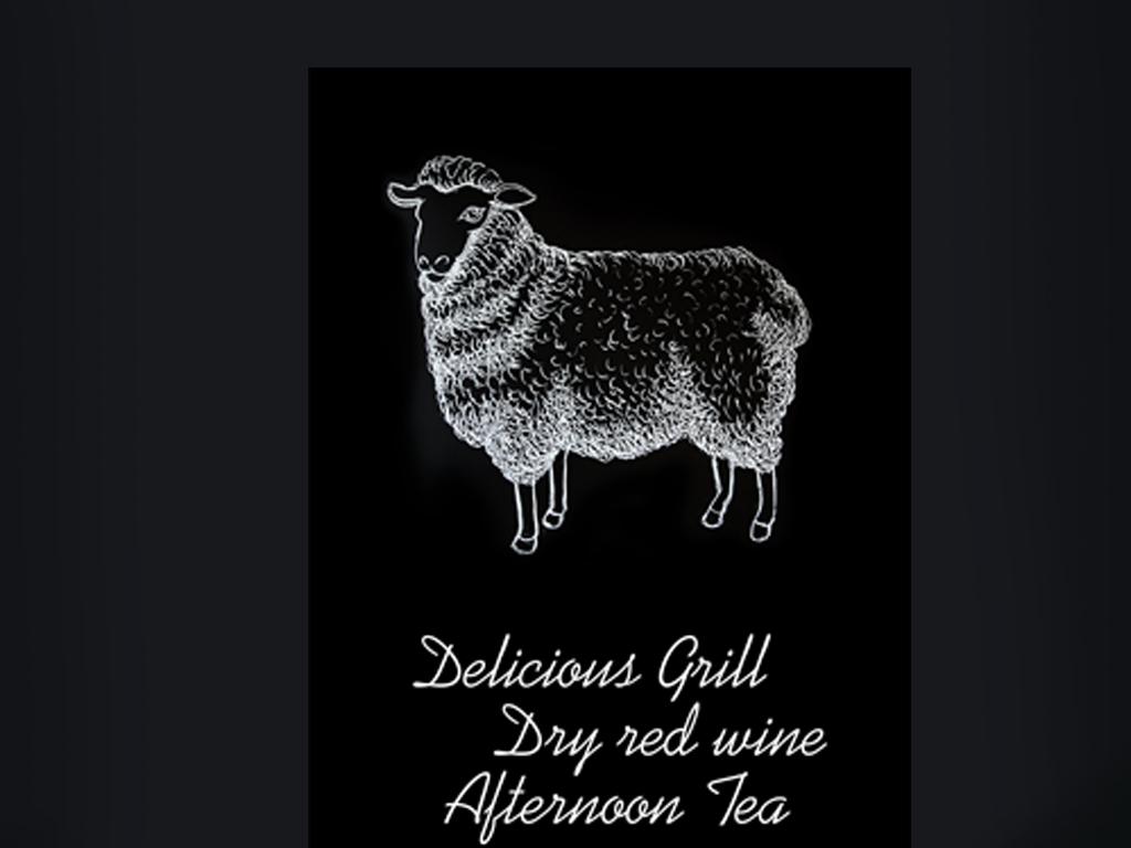 手绘黑白咖啡西餐厅烧烤店羊肉串壁画背景墙